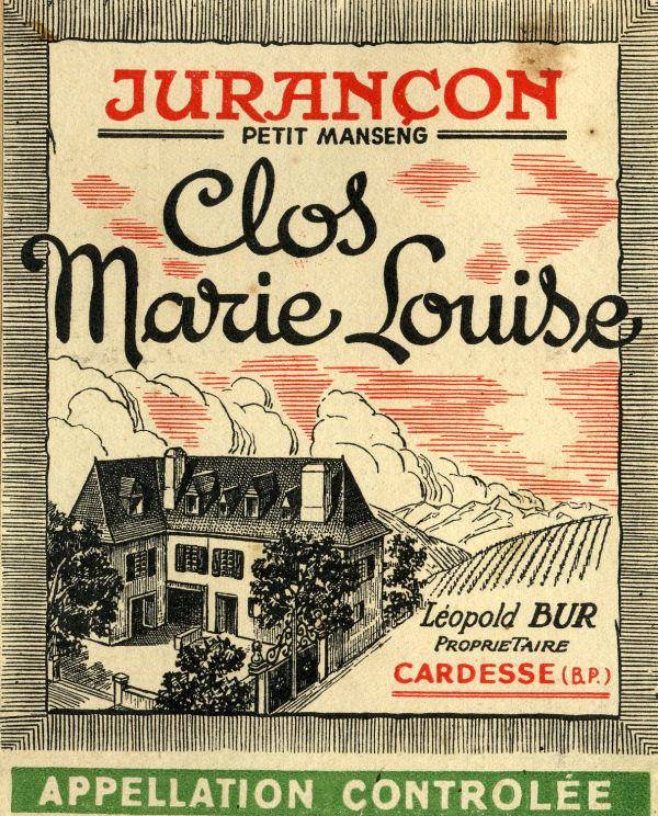 Etiquette jurançon «Clos Marie-Louise»